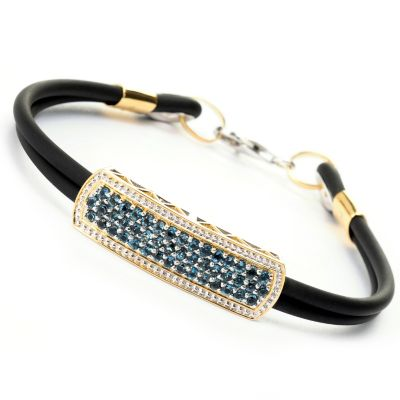 129-359 - Men's en Vogue II 2.76ctw Three-Row London Blue Topaz Double Rubber Cord Bracelet