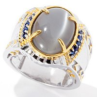 MEN'S - SS/PALL RING GREY MOONSTONE & BLUE SAPH