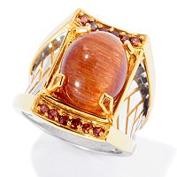 MEN'S - SS/PALL RING GOLDEN RUTILATED QTZ & MOCHA ZIRCON