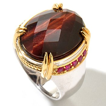 129-366 - Men's en Vogue II 20 x 15mm Checkerboard Cut Tiger's Eye & Ruby Ring