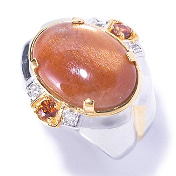 129-368 - Men's en Vogue II 20 x 15mm Sunstone, Mocha Zircon & White Sapphire Ring