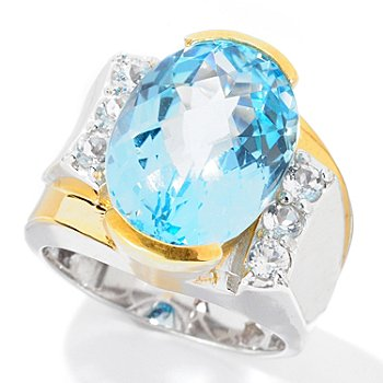 129-370 - Men's en Vogue II 11.18ctw Checkerboard Cut Sky Blue Topaz & White Topaz Ring