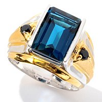 MEN'S - SS/PALL RING EMERALD-CUT LONDON BLUE TOPAZ & BLK SPINEL