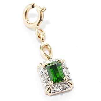 129-377 - NYC II Chrome Diopside & White Zircon Rectangular Drop Charm