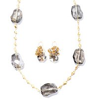 GOLDTONE WHITNEY SMOKEY CRYSTAL NECKLACE