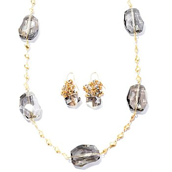 129-379 - Meghan Browne Style Gold-tone ''Elaina Grace'' Station Necklace & Earrings Set