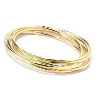 BRONZE/18KGP BRAC SET OF 7 INTERLOCKED ROLLING SLIP-ON BANGLES