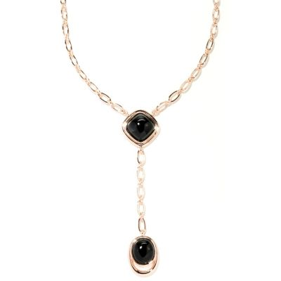 "129-383 - Milano Luxe Gold Embraced™ 18"" Black Agate Drop Necklace"