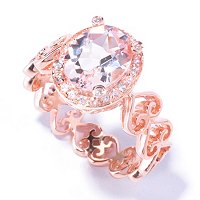 SS/P RING 9x7MM MORGANITE & WHITE ZIRCON FILIGREE HEART BAND
