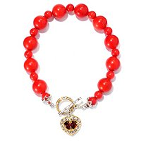 SS/PALL BRAC GEMSTONE BEAD & HEART CHARM TOGGLE CLASP