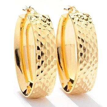 129-391 - Scintilloro™ Gold Embraced™ Diamond Cut Front Facing Oval Hoop Earrings