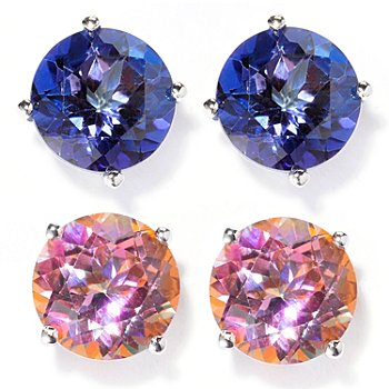 129-393 - Gem Treasures Set of Two Sterling Silver 8mm Topaz ''Kellie Anne'' Stud Earrings