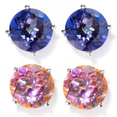 "129-393 - Gem Treasures Set of Two Sterling Silver 8mm Topaz ""Kellie Anne"" Stud Earrings"