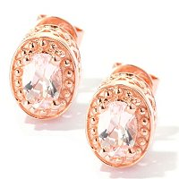 SS/18K ROSE VERMEIL EAR 5MM MORGANITE STUD w/ HEART DETAIL