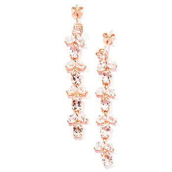 129-400 - NYC II 1.75'' 7.81ctw Morganite & White Zircon Five-Tier Drop Earrings