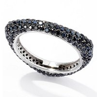 SS/PLAT RING BLACK SPINEL TRIANGLE BAND