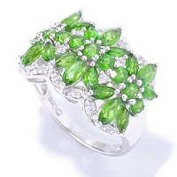 SS/PLAT RING CHROME DIOPSIDE & WHT ZIRCON BAND