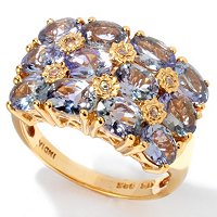 SS/P BRAC RING BONDI BLUE TANZANITE & WHT ZIRCON BAND