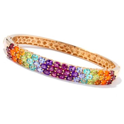 129-412 - NYC II 6.76ctw Multi Gemstone Rainbow Hinged Bangle Bracelet