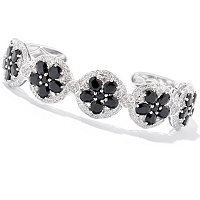 SS/P BRAC MULTI GEMSTONE & WHT ZIRCON FLOWER LINK HINGED CUFF