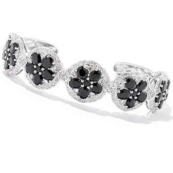 129-413 - NYC II Black Spinel & White Zircon Flower Link Cuff Bracelet