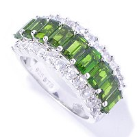 SS/P RING EMERALD-CUT CHROME DIOPSIDE & WHT ZIRCON BAND