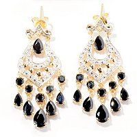 SS/P EAR BLACK SPINEL & DIAMOND ACCENT CHANDELIER