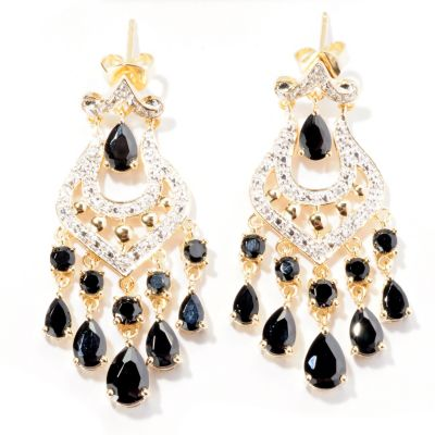 129-415 - NYC II Black Spinel & White Zircon Chandelier Earrings