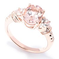 SS/18K ROSE VERMEIL RING 3-STONE MORGANITE & WHT ZIRCON