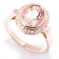 SS/18K ROSE VERMEIL RING 9X7 MORGANITE