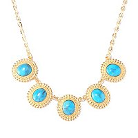 BRONZE/18KGP NECK TURQUOISE BEADED DISCS - 19""