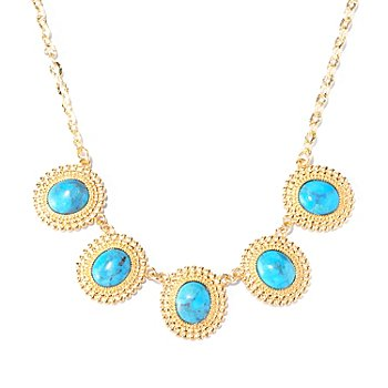 129-419 - Toscana Italiana Gold Embraced™ 19'' Turquoise Beaded Disks Necklace