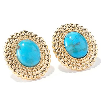 129-420 - Toscana Italiana Gold Embraced™ 11 x 7mm Turquoise Beaded Stud Earrings