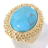 BRONZE/18KGP RING TURQUOISE BEADED FRAME