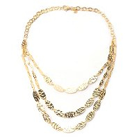 BRONZE/18KGP NECK CASCADING HAMMERED OVAL LINK - 20""