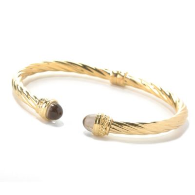 "129-425 - Toscana Italiana Gold Embraced™ 7"" Quartz End Cap Twisted Cuff Bracelet"