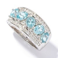 SS/P RING 5-STONE BLUE ZIRCON & CHANNEL-SET WHITE ZIRCON