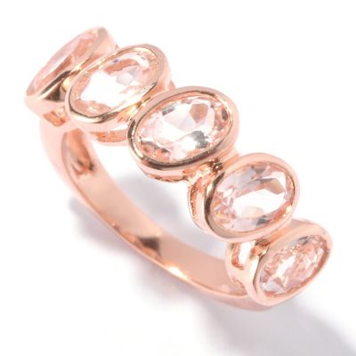 129-431 - NYC II 1.65ctw Five-Stone Morganite Angled Bezel Ring