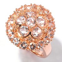 SS/18K ROSE VERMEIL RING MORGANITE FLOWER