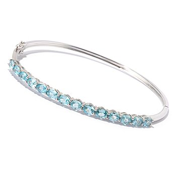 129-451 - NYC II 7.01ctw Blue Zircon Hinged Bangle Bracelet
