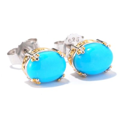 129-452 - Gems en Vogue II 8 x 6mm Sleeping Beauty Turquoise Stud Earrings