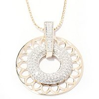 14K YG PAVE CIRCLE PEND WITH CHAIN