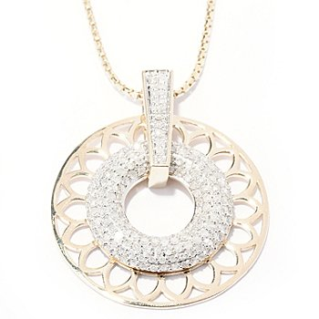 129-453 - Beverly Hills Elegance 14K Gold 1.00ctw Diamond Circle Pendant w/ 18'' Chain