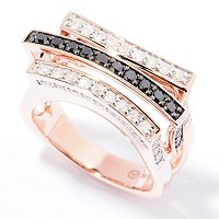 14K RG 3 ROW RING WHT AND BLK DIAMONDS