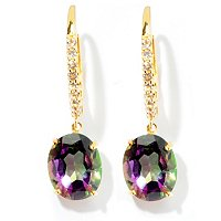 SS/P EAR 10x8MM MYSTIC TOPAZ & WHT ZIRCON DROP