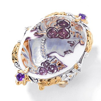 129-487 - Gems en Vogue II 30mm Hand-Carved Tiger Shell Cameo, Amethyst & White Sapphire Ring