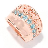 SS/RV BLUE ZIRCON WIDE BAND RING