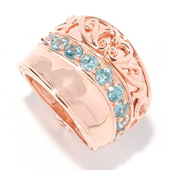 129-489 - Dallas Prince Designs 2.64ctw Blue Zircon Wide Band Ring
