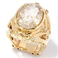 SS/YV GOLDEN RUT W/ WHITE TOPAZ OVAL RING
