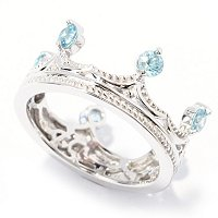 SS CROWN RING W/ BLUE ZIRCON